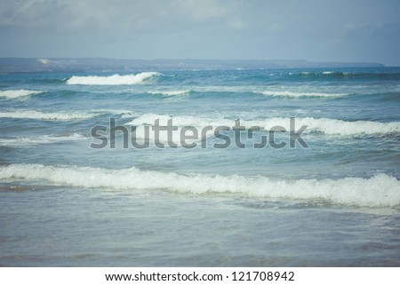 Ocean waves. Indian ocean. Bali. Indonesia - stock photo