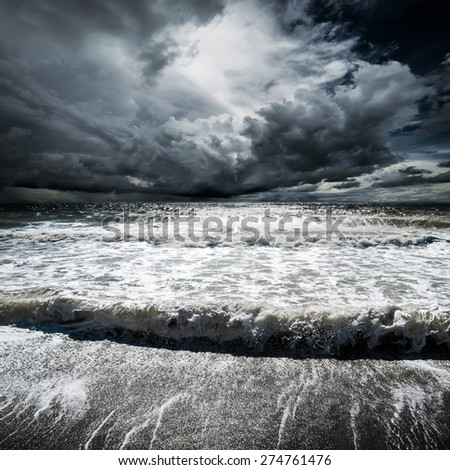 Ocean waves. Tropical hurricane cyclone - stock photo