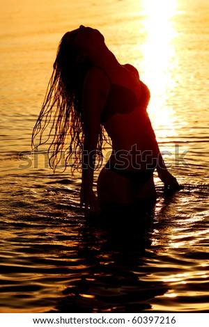 ocean woman - stock photo