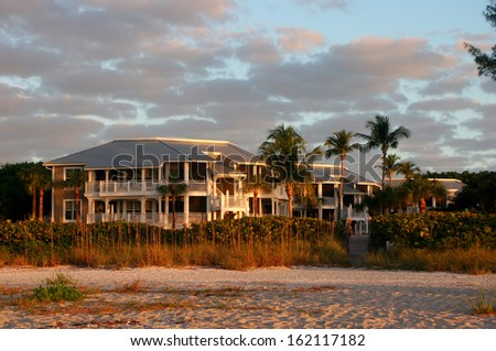 Oceanfront Beach Condominium Sanibel Island at Sunrise - stock photo