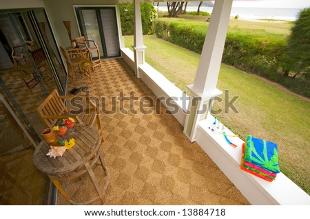 Oceanfront Lanai and View - stock photo