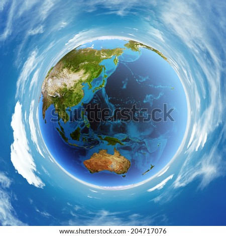 Oceania real relief model. Elements of this image furnished by NASA - stock photo