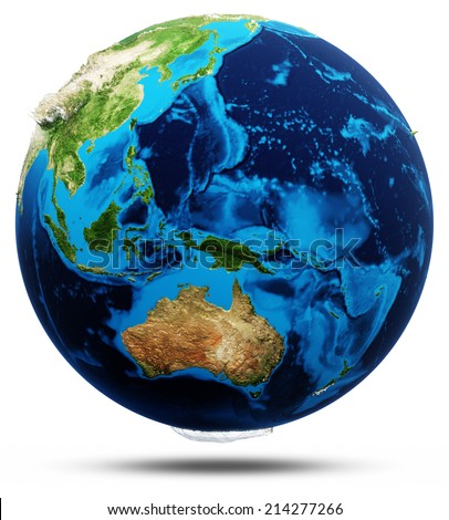 Oceania real relief, modified maps, lighting and materials. Earth globe model, maps courtesy of NASA - stock photo