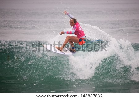 OCEANSIDE, CALIFORNIA - AUG 3: Carissa Moore at the Super Girl Pro in Oceanside California, California on August 3rd, 2013.