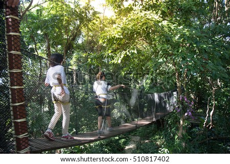Oct 14 2016 - Photo of Tourist at Doi tung tree top walk on oct 14 2016 at chiangrai , thailand