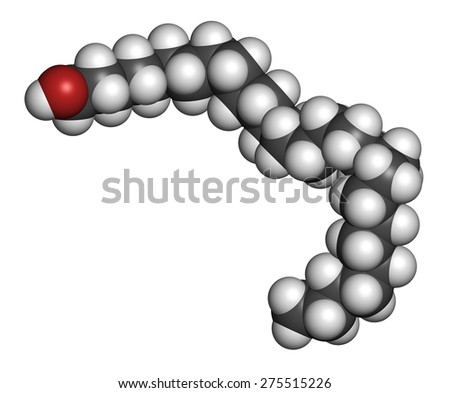 Octacosanol plant wax component molecule. long chain fatty alcohol, present in e.g. the waxy cover of eucalyptus leaves. Main constituent of policosanol nutritional supplement. - stock photo