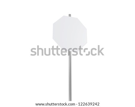 Octagon road sign, isolated on white background. - stock photo