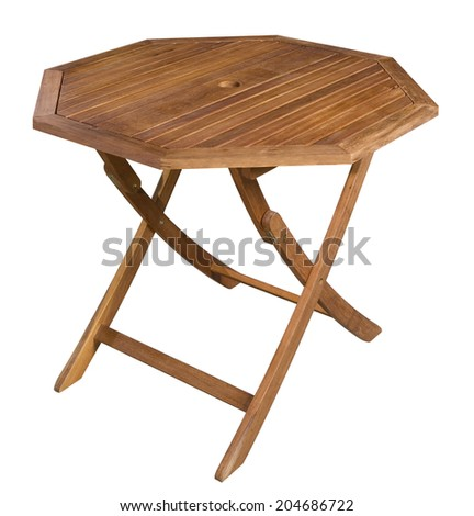 Octagonal wooden folding table isolated on white with clipping path