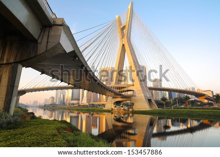 Octavio Frias Oliveira Bridge - Sao Paulo - Brazil - stock photo