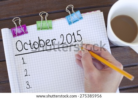 October 2015 - stock photo