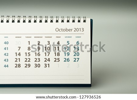 October. Calendar sheet. 2013 year calendar - stock photo