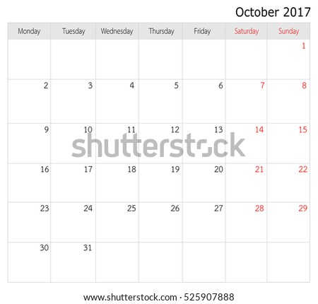 October 2017 Calendar Template Big Space Stock Illustration