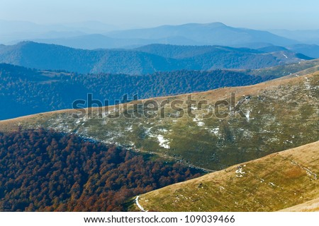 October Carpathian mountain Borghava plateau with first winter snow - stock photo