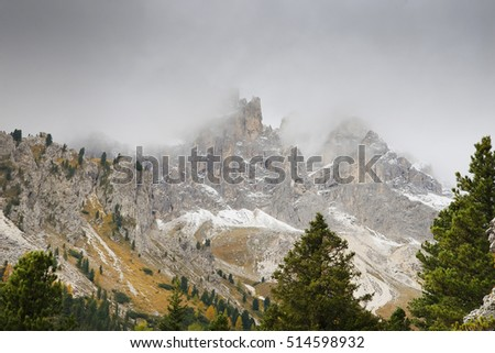 October 2016.Dolomites Mountains in a cloudy day.Italy , Europe.