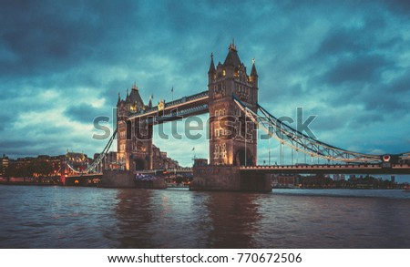 October 24, 2017, London, England : Tower bridge and the sky London skyline at night