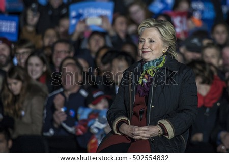 October 22nd 2016 - Philadelphia, USA - Secretary of State Hillary Clinton and Senator Tim Kaine hold campaign rally in Philadelphia.