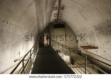 OCTOBER 2010 - OBERSALZBERG: the bunker in the former headquarters of German Nazi dictator Adolf Hitler in the Bavarian Alps, Documentary Center Obersalzberg, Bavaria, Germany. - stock photo