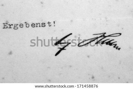 OCTOBER 2010 - OBERSALZBERG: the signature of German Nazi dicator Adolf Hitler, exhibit in the documentary center on Nazi-Germany, Obersalzberg, Berchtesgaden, Bavaria, Germany. - stock photo