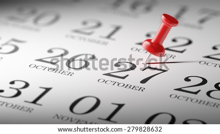 October 27 written on a calendar to remind you an important appointment.