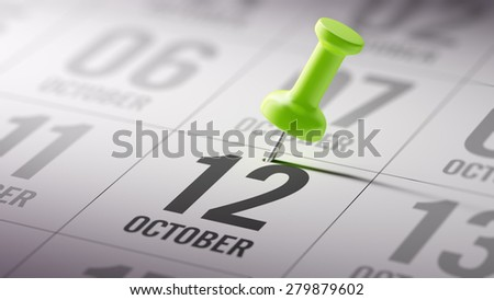 October 12 written on a calendar to remind you an important appointment. - stock photo