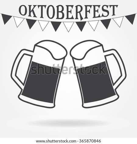 Octoberfest beer symbol. Two glasses or beer mugs on white background. Cheers icon or sign. - stock photo