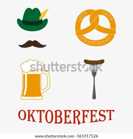 Octoberfest icon set: petzel, beer stein, sausage, hat. Oktoberfest beer festival design elements. - stock photo