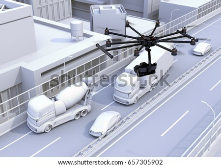 Octocopter recording car accident by DSLR camera. 3D rendering image.