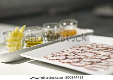 Octopus carpaccio ingredients - stock photo