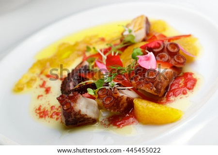 Octopus ceviche with citrus fruits. - stock photo