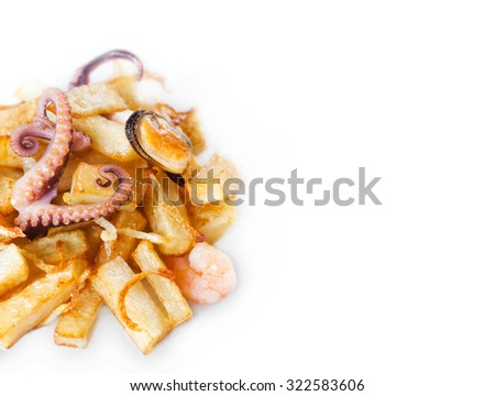 Octopus, mussel and shrimp with french fries. Seafood dish over fried potatoes. white background. copy space. Closeup - stock photo