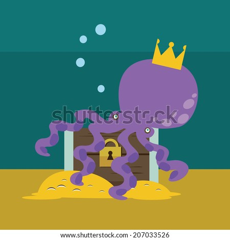 Octopus with chest with gold Raster version - stock photo