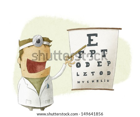 Oculist doctor pointing on a eyesight test chart - stock photo