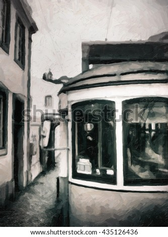 Od tram of Lisbon, Black and white picture - oil painting, canvas