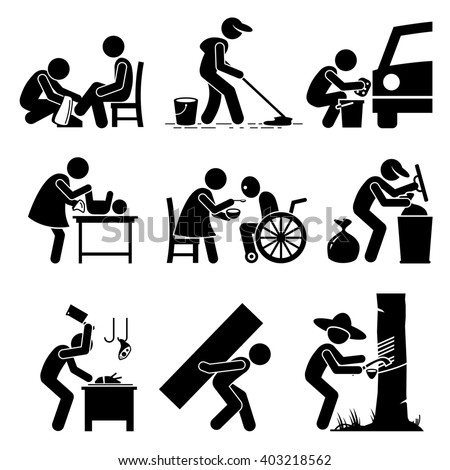 Odd Jobs - Shoe Shine, Janitor, Car Wash, Babysitter, Elderly Care, Garbage Collector, Butcher, Hard Labor, and Rubber Tapper - Stick Figure Pictogram Icons - stock photo