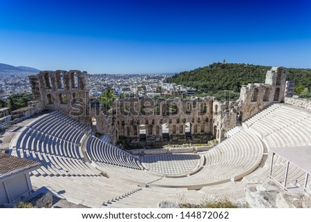 Odeon of Herodes Atticus below the Athenian Acropolis,Greece