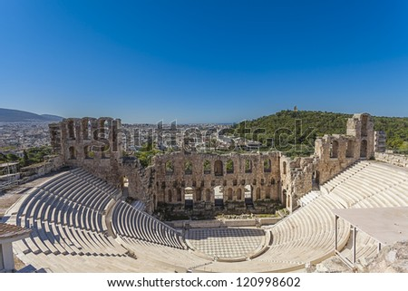 Odeon of Herodes Atticus under the Athenian Acropolis,Greece - stock photo