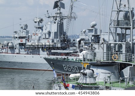 Odesa, Ukraine - July 3, 2016: Battleship HETMAN SAHAYDACHNY docked at Port during celebration day NAVY forces - stock photo