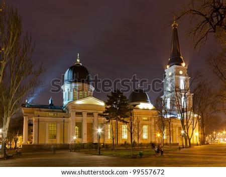 Odessa Orthodox Cathedral dedicated to the Savior's Transfiguration. Night scene. - stock photo