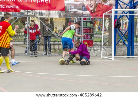 ODESSA, UKRAINE - April 9, 2016: Championship Futsal city. Galway City Sports Club Mini-Football spend  first game of  traditional urban primacy on  new playground. Sports games for  healthy lifestyle