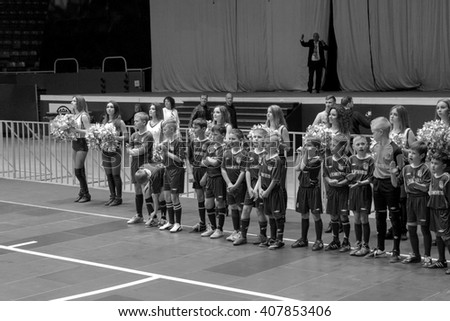 Odessa, Ukraine - April 12, 2016: World Cup playoff match UKRAINE -SLOVAKIYA. The game of mini-soccer. Mini-soccer on big stage of sports hall, embracing modern playground. Out players on the field