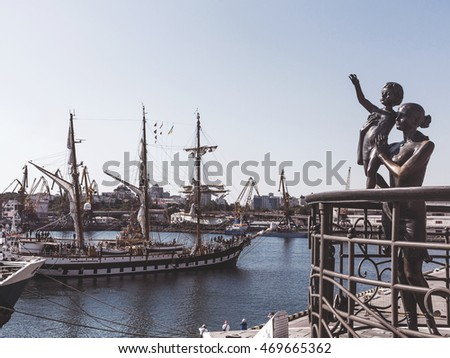 "Odessa, Ukraine August 15, 2016: Training barquentine Italian Navy ""Palinuro"" comes to the Odessa seaport August 15, 2016."