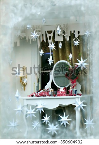 Odessa, Ukraine, December 12 2015: Decorated for Christmas shop window in Odessa city.