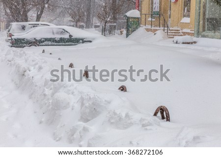 Odessa, Ukraine - January 18, 2016: A powerful cyclone, storm, heavy snow paralyzed the city. Winter problems with the car. Road Closed. Stopped vehicles January 18, 2016 in Odessa, Ukraine