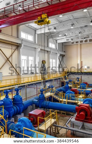 ODESSA, UKRAINE - July 2, 2011: A new pumping station after reconstruction and overhaul. Urban modern treatment facilities, pipelines and pumps powerful, modern automatic system protection and control
