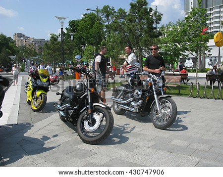 "Odessa, Ukraine, May 29, 2016 -: close-up of beautiful motorcycles and bikes in the ""Bike show"" parked in the open air in the city center. Shallow depth of field."