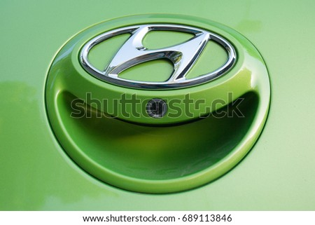 ODESSA, UKRAINE - MAY 7, 2017: Hyundai logo and badge on the car