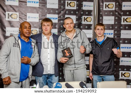 ODESSA, UKRAINE - May 21, 2014 : Press conference of world champion Alexander Spirko , Olympic champion Alexander Usyk and team trainer James Ali Bashyr and K2 team May 21, 2014 in Odessa , Ukraine.