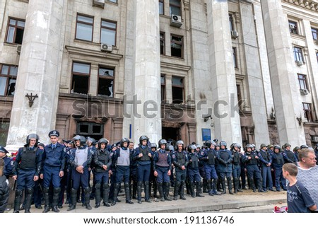 ODESSA, UKRAINE - May 2, 2014 : The tragedy of the burning of the House of Trade Unions Odessites perfect radical Ukrainian nationalists about the riots May 2, 2014 in Odessa , Ukraine.