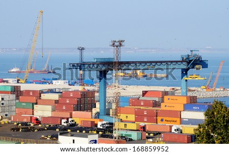 ODESSA,UKRAINE- OCTOBER 13:Container terminal at Odessa sea port on October 13, 2013 in Odessa,Ukraine.Odessa Marine Trade Port (OMTP) is largest Ukrainian seaport and important port on the Black Sea