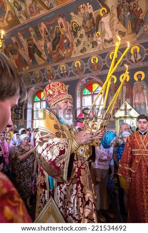 ODESSA, UKRAINE - SEPTEMBER 13: Celebration of the Orthodox Christian religious holiday icons of the temple village. Metropolitan of Odessa and Izmail Agafangel, September 13, 2014 in Odessa, Ukraine